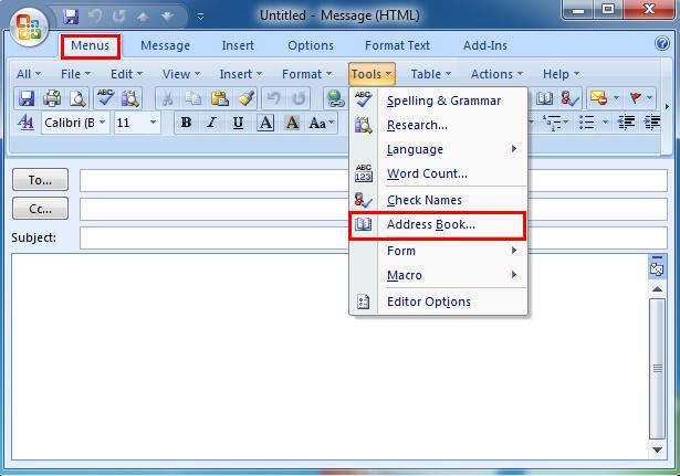 Update F R Outlook 2000 Address