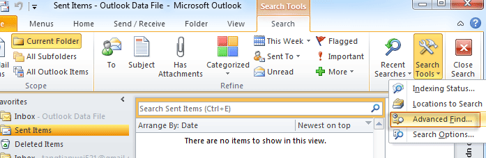 Where is Advanced Find/Search in Outlook 2010, 2013, 2016