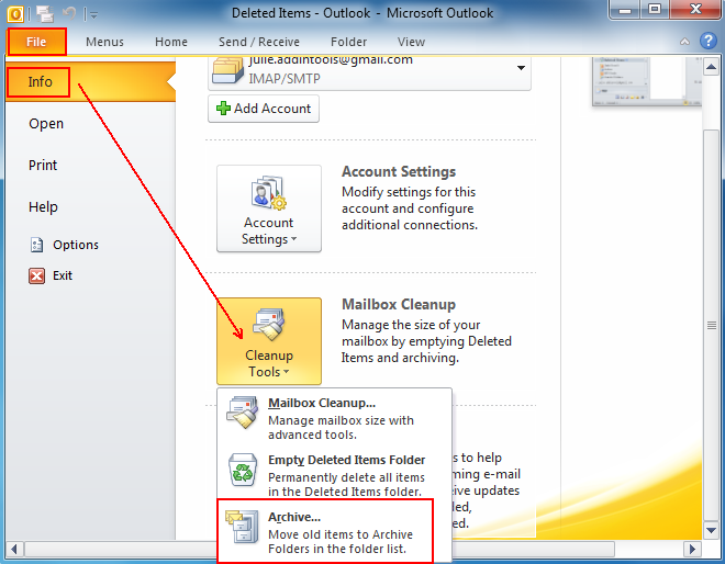 Where is Archive in Microsoft Outlook 2010, 2013, 2016, 2019 and 365