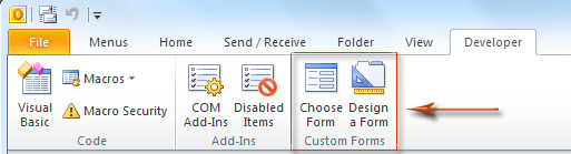 Where is Forms command in Outlook 2010, 2013, 2016, 2019 and 365