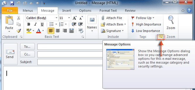 Where is Message Options in Outlook 2007, 2010, 2013, 2016