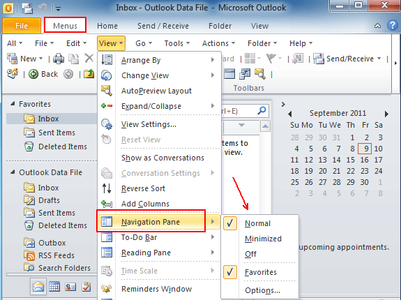 Where is Navigation Pane in Outlook 2010, 2013, 2016, 2019