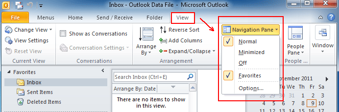 Where is Navigation Pane in Outlook 2010, 2013, 2016, 2019 and 365
