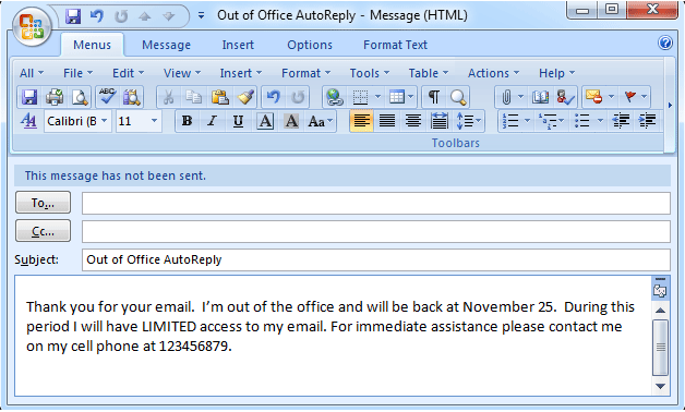 message absence outlook 2013
