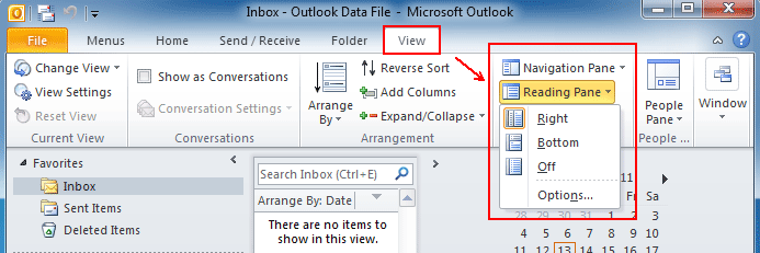 Where is Reading Pane in Outlook 2010, 2013, 2016, 2019 and 365
