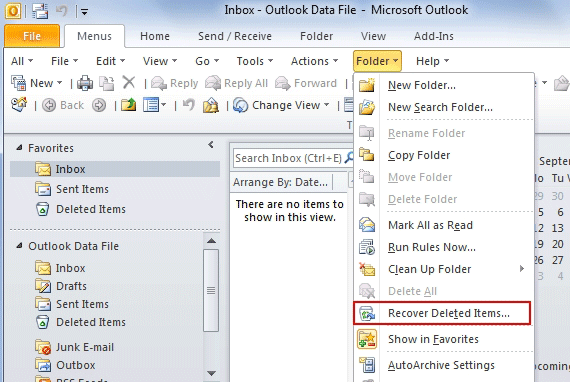 undelete for outlook