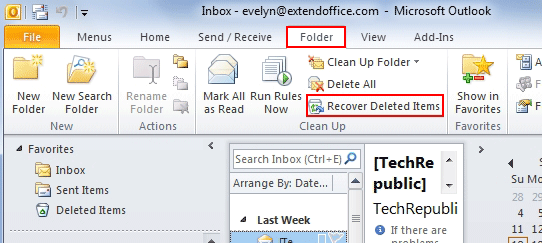 Where is Recover Deleted Items in Outlook 2010, 2013 and 2016