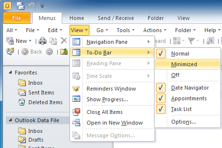 Where is To-Do Bar in Microsoft Outlook 2010, 2013, 2016, 2019 and 365?