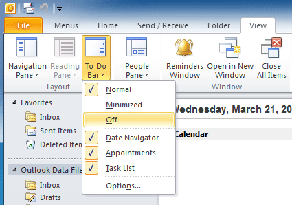 Where is To-Do Bar in Microsoft Outlook 2010, 2013, 2016
