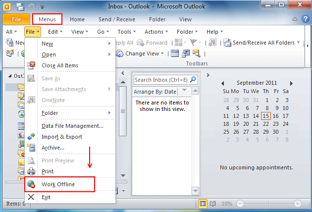 Where is Work Offline in Microsoft Outlook 2010, 2013, 2016, 2019