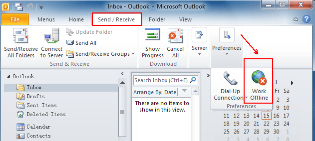 Where is Work Offline in Microsoft Outlook 2010, 2013, 2016
