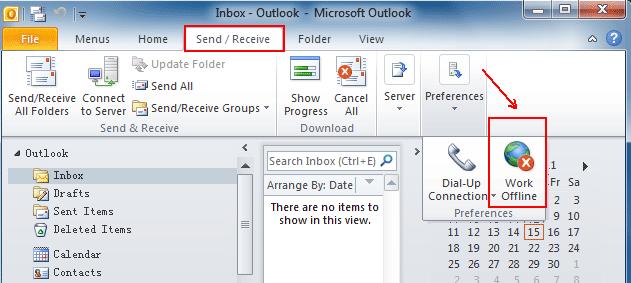 Image result for offline mode Outlook 2010