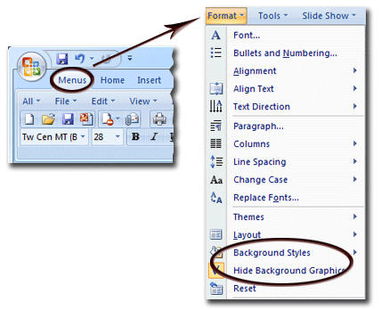 Where is the Background in Microsoft PowerPoint 2007, 2010