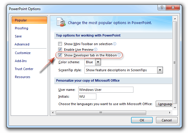 Where is the Control Toolbox in PowerPoint 2007, 2010, 2013, 2016