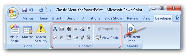 Where is the Control Toolbox in PowerPoint 2007, 2010, 2013