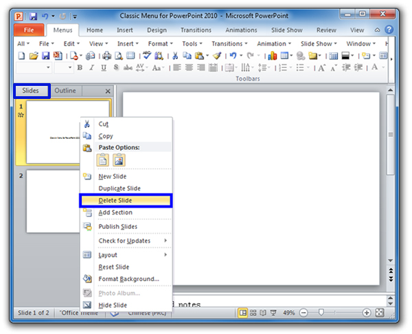 where is the delete slide in microsoft powerpoint 2010 and 2007
