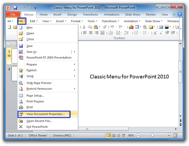 Where is the document properties in powerpoint 2007 2010 2013 and 2016 view doucemnt properties item toneelgroepblik Choice Image