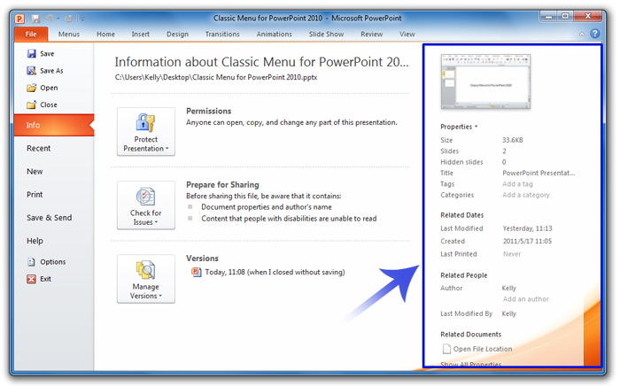 Where is the Document Properties in PowerPoint 2007, 2010