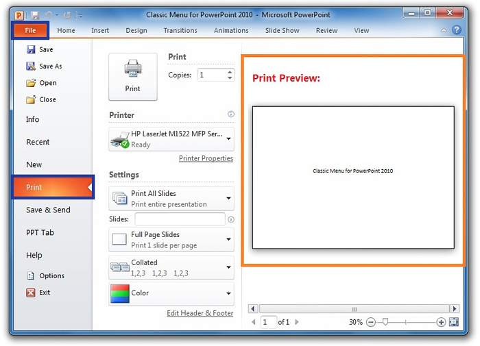 Backstage View Of Printing In PowerPoint 2010