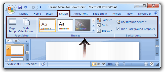 Where is the slide design in microsoft powerpoint 2007 2010 2013 slide design features in ribbon toneelgroepblik Gallery