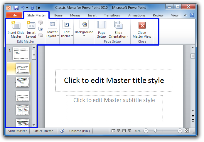 Where is slide master in microsoft powerpoint 2007 2010 2013 and 2016 slide master tab is oppened toneelgroepblik