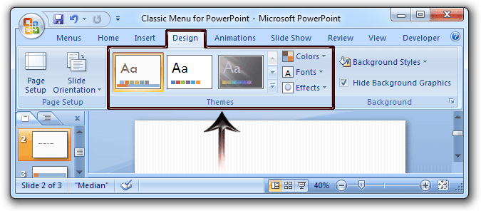 where is the themes in microsoft powerpoint 2007, 2010, 2013 and 2016, Powerpoint templates