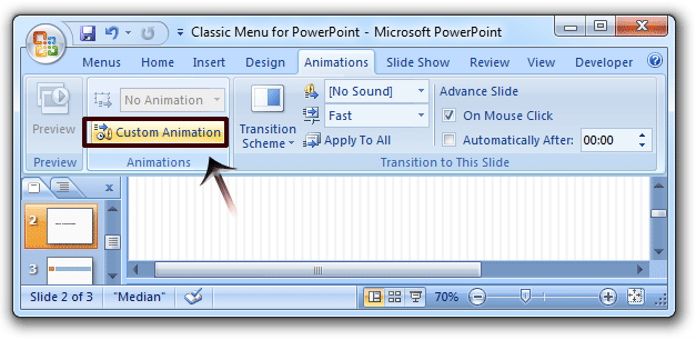 Where is Custom Animation in Microsoft PowerPoint 2007?