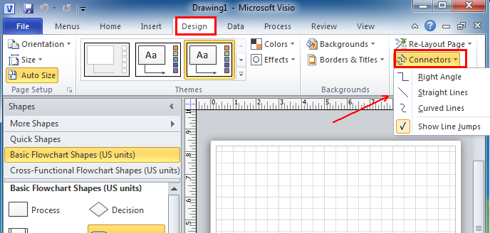 Where is Connectors in Microsoft Visio 2010, 2013, 2016, 2019 and 365