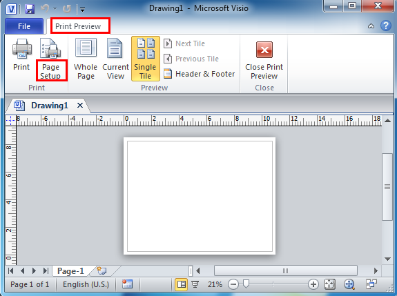 Where is Page Setup in Microsoft Visio 2010, 2013 and 2016