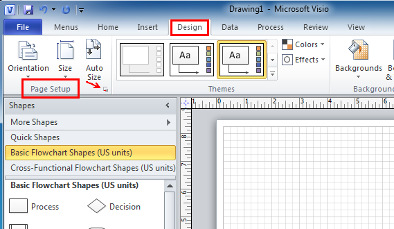 To change the print orientation from portrait landscape in for Table design visio