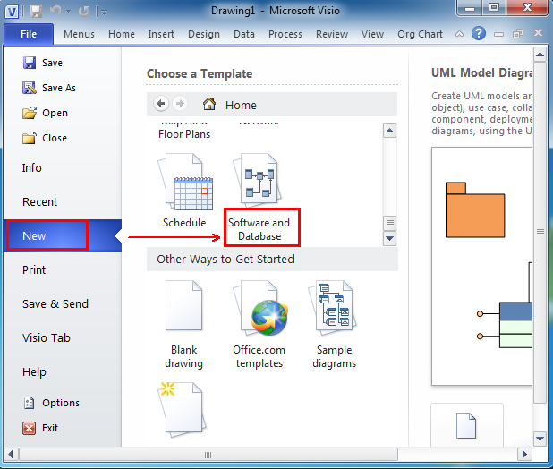 after you click software and database you can see the uml model diagram appearing under the software and database template - Visio 2007 Standard