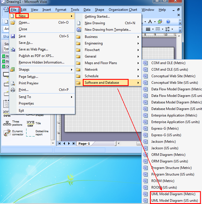 Where is the uml model diagram in microsoft visio 2010 and visio 2007 visio 2007 ccuart Choice Image