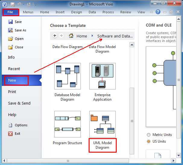 Where is the uml model diagram in microsoft visio 2010 and visio 2007 in microsof visio 2010 and 2013 it is easy to find the uml model diagram by following please click file new and select software and database ccuart