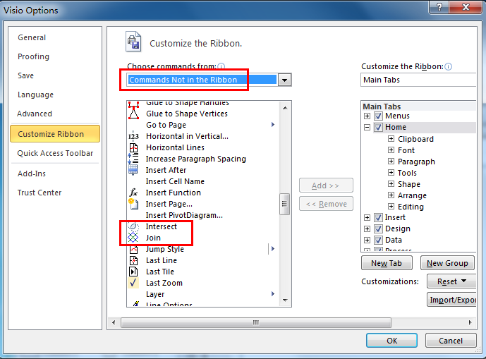 Where is Shape Operations in Microsoft Visio 2010, 2013