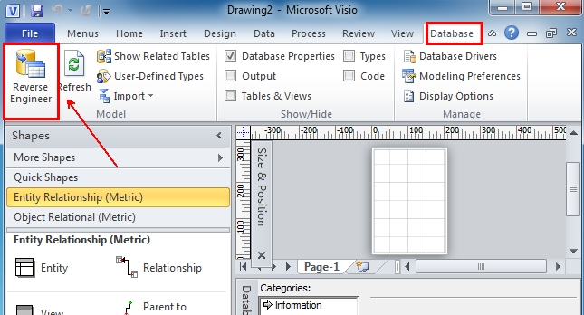 then, it goes back to the ribbon interface of visio 2010  on the database  tab, in the model group, reverse engineer is at the leftmost corner next to