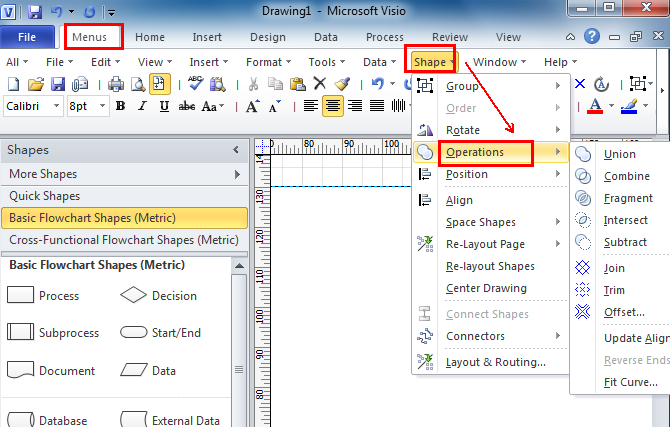 Where is Shape Operations in Microsoft Visio 2010, 2013, 2016, 2019