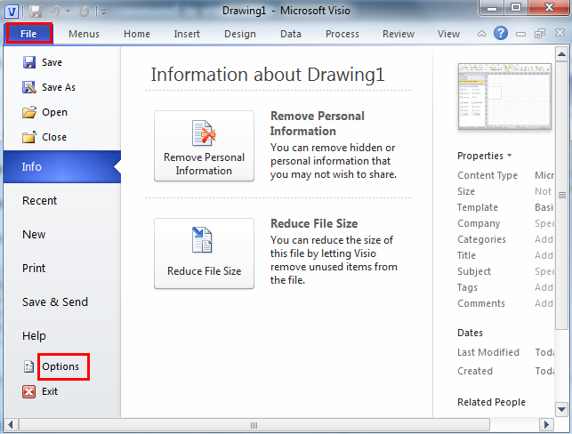 secondly navigate to customize ribbon tab in visio options window select the commands not in the ribbon from the choose commands from drop down menu - Visio 2007 Standard