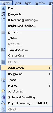 Difference of Format Menu between Word 2003, Word 2007 and Word 2010