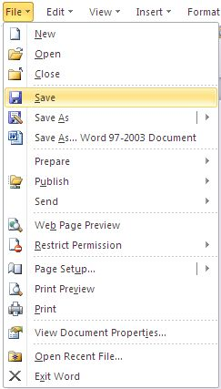Difference of File Menu between Word 2003, Word 2007 and Word 2010