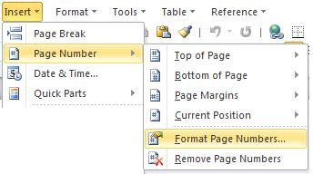 how to change page number position in word 2010