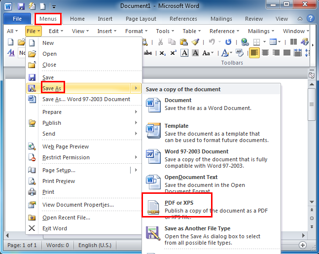 Where is the Creating PDF/XPS Document in Word 2007, 2010, 2013 ...