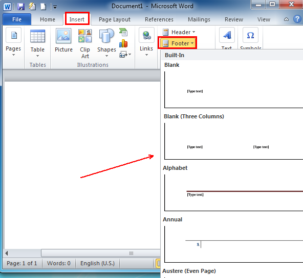Where Is The Footer In Microsoft Word 2007 2010 2013