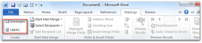 Where are the Envelopes and Labels in Microsoft Word 2007, 2010
