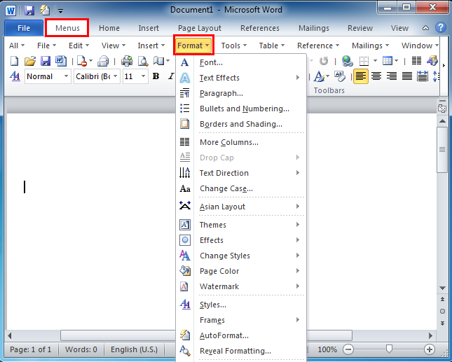 where is the format menu in microsoft word 2007 2010 2013 and 2016