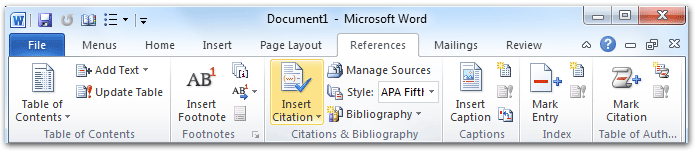 how to add the reference tab in word 2010