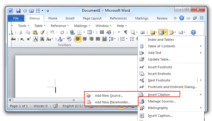 where is the insert citation command in word 2007 2010 2013 and 2016