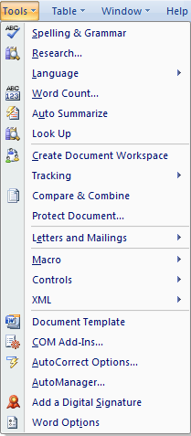 Where Is The Tools Menu In Microsoft Word 2007 2010 2013
