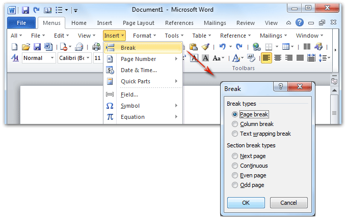 Where is the Page Break in Microsoft Word 2007, 2010, 2013, 2016