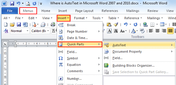 Where is the Insert AutoText in Microsoft Word 2007, 2010
