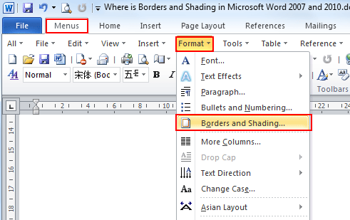 Where Is The Borders And Shading In Word 2007 2010 2013 And 2016